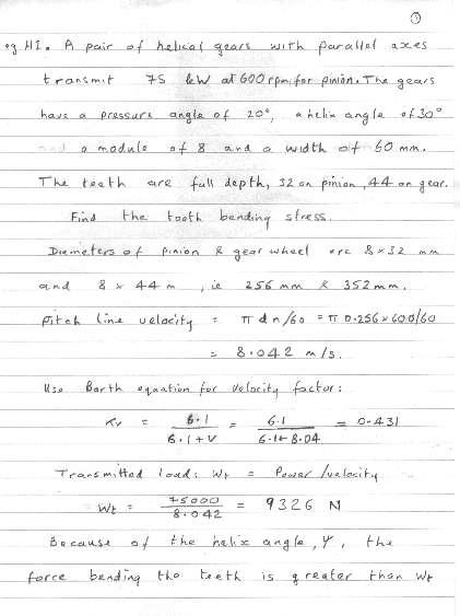 Helical Gear Calculation